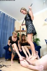 Crazy trampling session with 3 lovely Russian girls