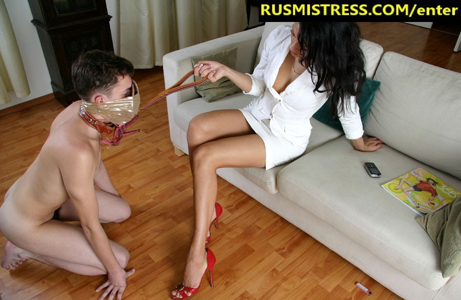 Poor Slave Boy Sniffs His Mistress Feet And Shoes Russian Mistress