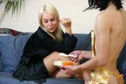 House mistress dominates her sissy slave