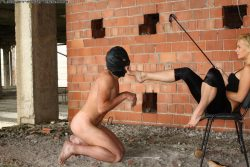 Brutal spanking for this male slave