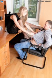 Blonde dominating girl and her office slave