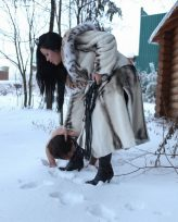 Domination in the snow somewhere in cold Russia   with hot Russian mistress