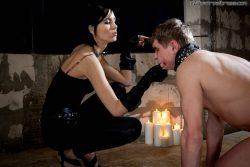 Hot wax on slaves body   russianmistress