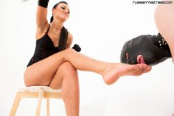 Russian mistress gives prostates massage to her male slave dog