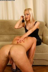 Blonde Russian model and her long foot worship session with her slave