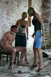 Male beaten and tied up by two crazy Russian bitches