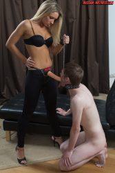 Beautiful blonde Russian mistress strapon fuck her male slave