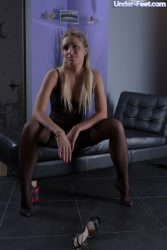 Femdom session in pantyhose
