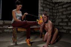 Young & sexy Russian sportsgirl make her slave sniff her feet