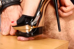 Spanked by beautiful Russian girl and later licking her heel