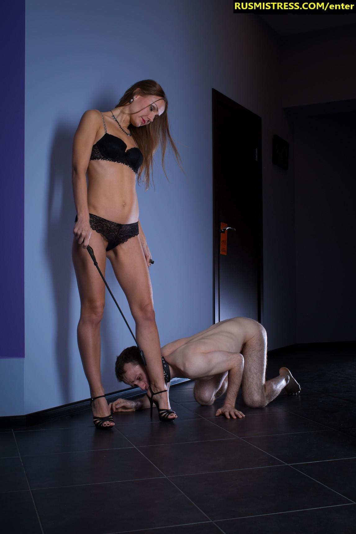 Beautiful Russian mistress Nadya and her humiliated male dog