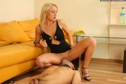 Watersports femdom fun with beautiful blonde lady from Russia