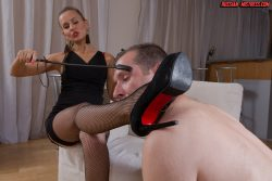 Gorgeous Russian Mistress Irina plays with her male toy