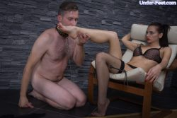 Russian mistress hates her slaves dirty useless cock but his tongue is quite alright