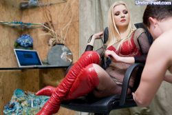 Red latex boots of hot domme get licked