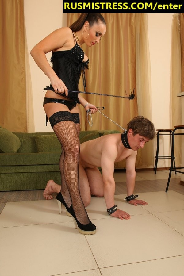 Trampling and feet licking on his knees - this is what you get when you meet Russian Mistress
