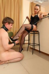 Trampling and feet licking on his knees   this is what you get when you meet Russian Mistress