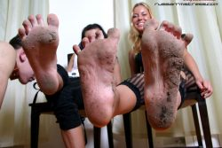 He licks two dirty feet of two hot Russian mistresses and they spit on him and laugh