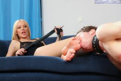 Devil mistress and her male slave toy