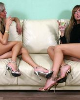 2 blonde mistresses abuse their male slave