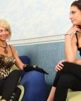 Two beautiful Russian mistress and their male dog