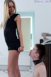 Femdom humiliation with sexy blonde