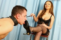 Hot Russian girl loves to be a dominatrix for this male slave